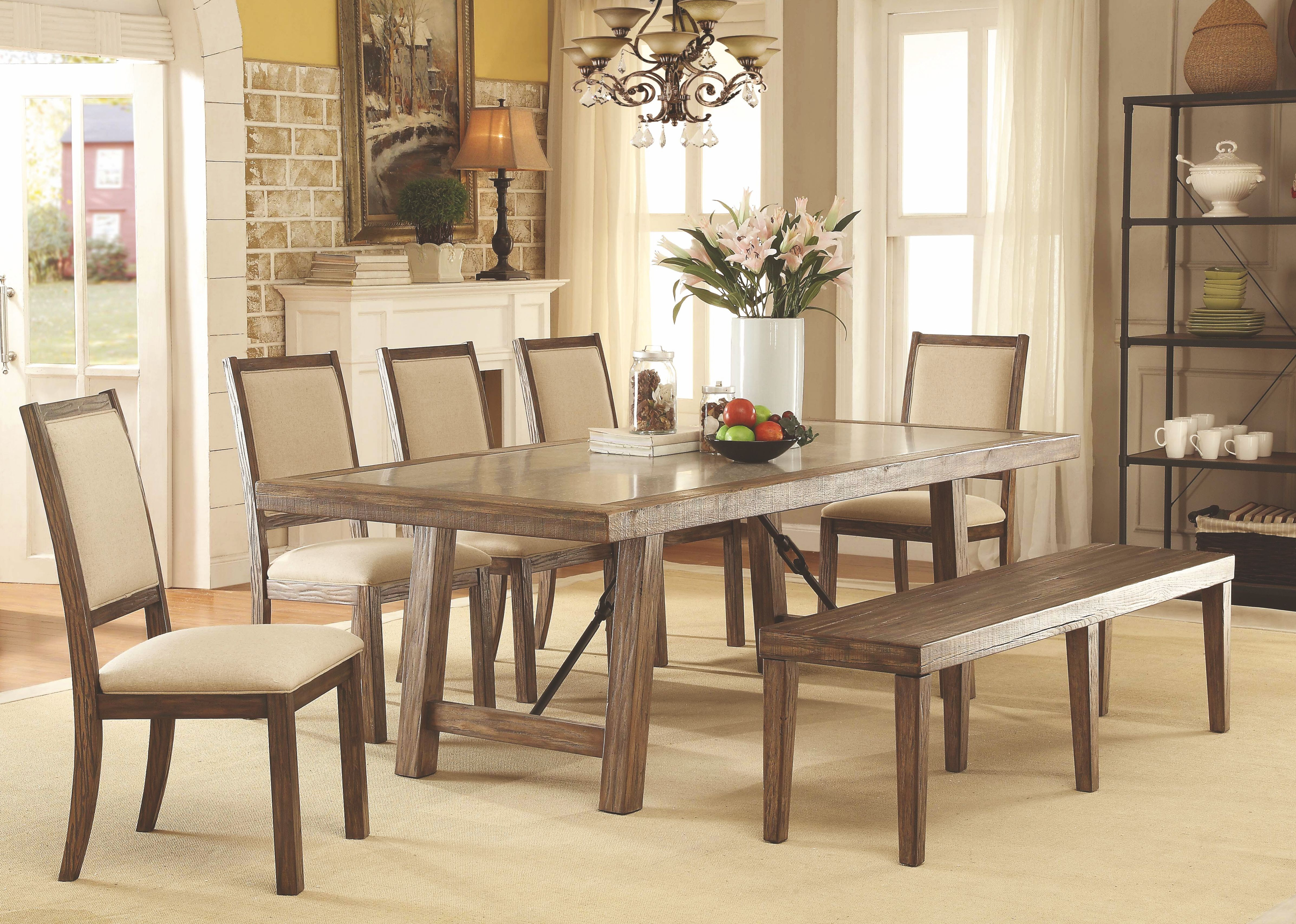 Dining Room Furniture Rustic Colettte Rustic Oak Rectangular Dining Room Set Cm3562t