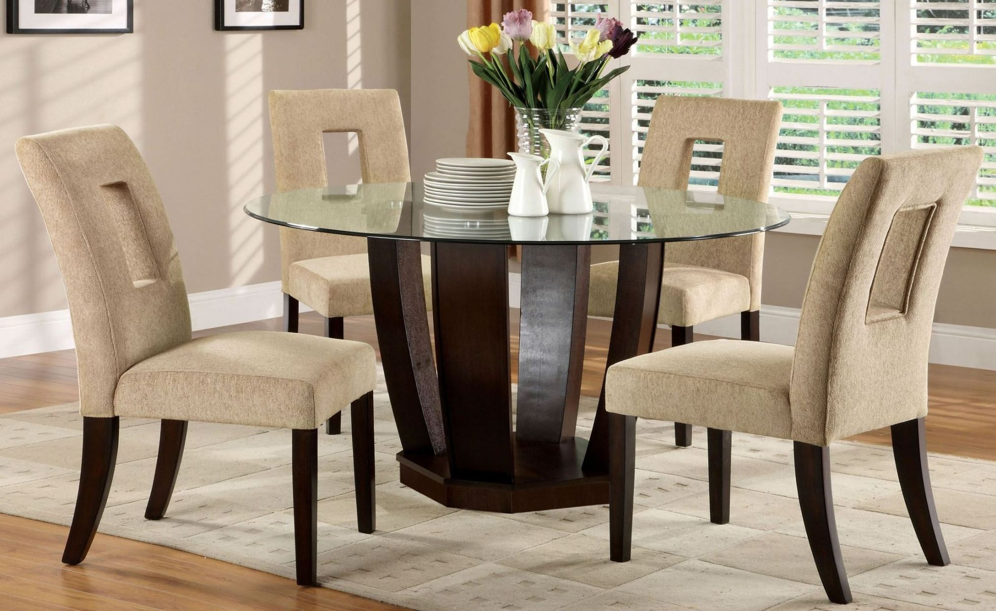Round Glass Dining Table West Palm I Espresso Glass Top Round Pedestal Dining Room