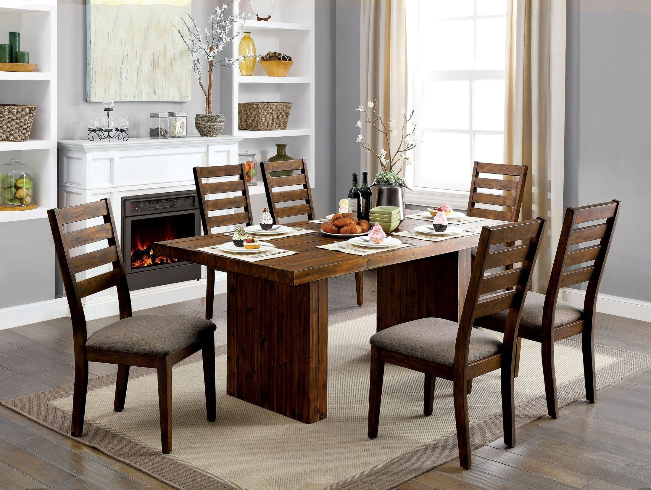 Dining Room Furniture Rustic Kirsty Rustic Walnut Dining Room Set From Furniture Of
