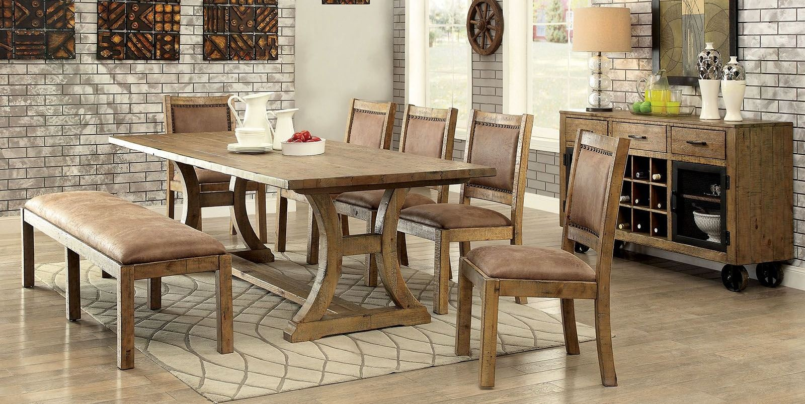Dining Room Furniture Rustic Gianna Rustic Pine Extendable Rectangular Dining Room Set