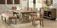 Gianna Rustic Pine Extendable Rectangular Dining Room Set ...