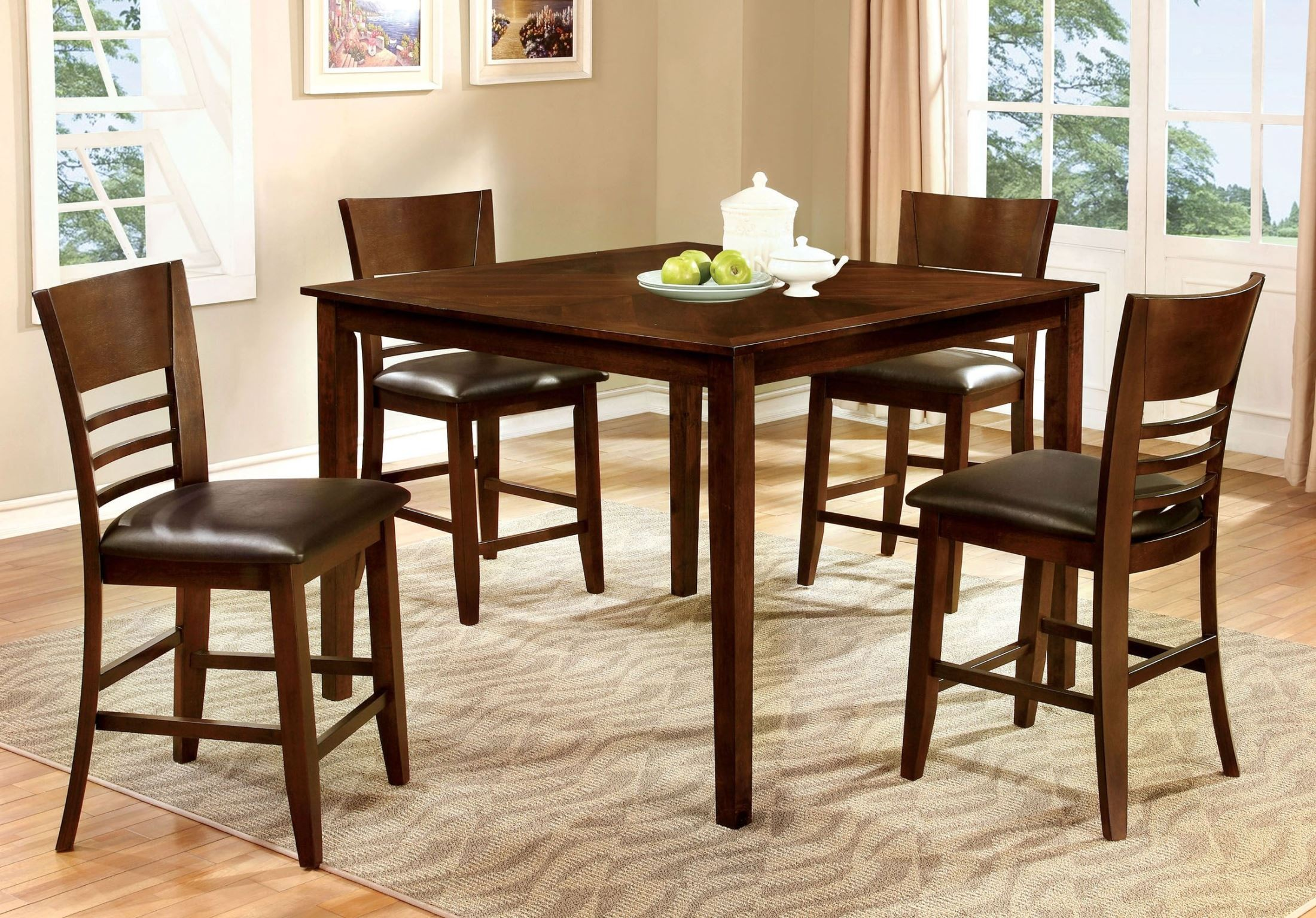 Dining Table Height Cm Hillsview Ii Brown Cherry 5 Piece Counter Height Table Set