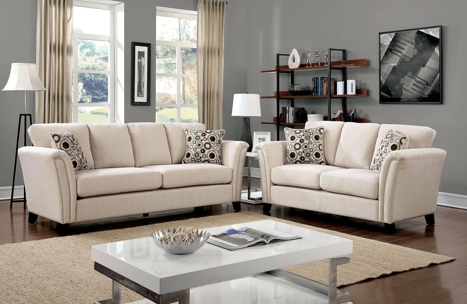 Living Room Furniture Ivory Sofa Campbell Ivory Living Room Set From Furniture Of America