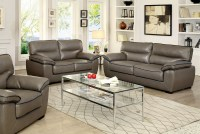 Lennox Gray Shined Faux Leather Living Room Set, CM6126-S ...