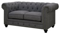 Stanford Gray Fabric Loveseat from Furniture of America ...