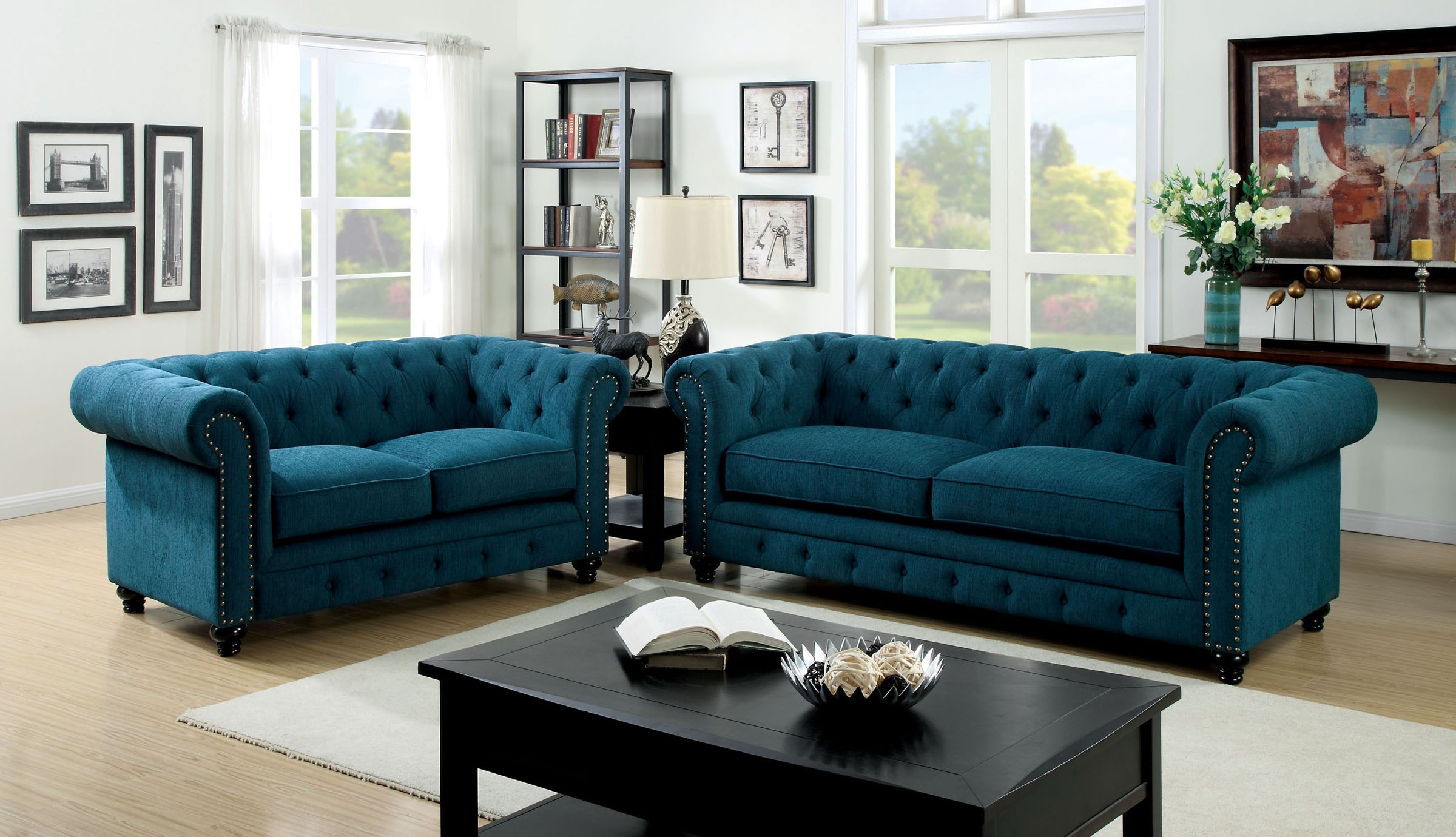 Living Room Sofas Sets Stanford Dark Teal Fabric Living Room Set