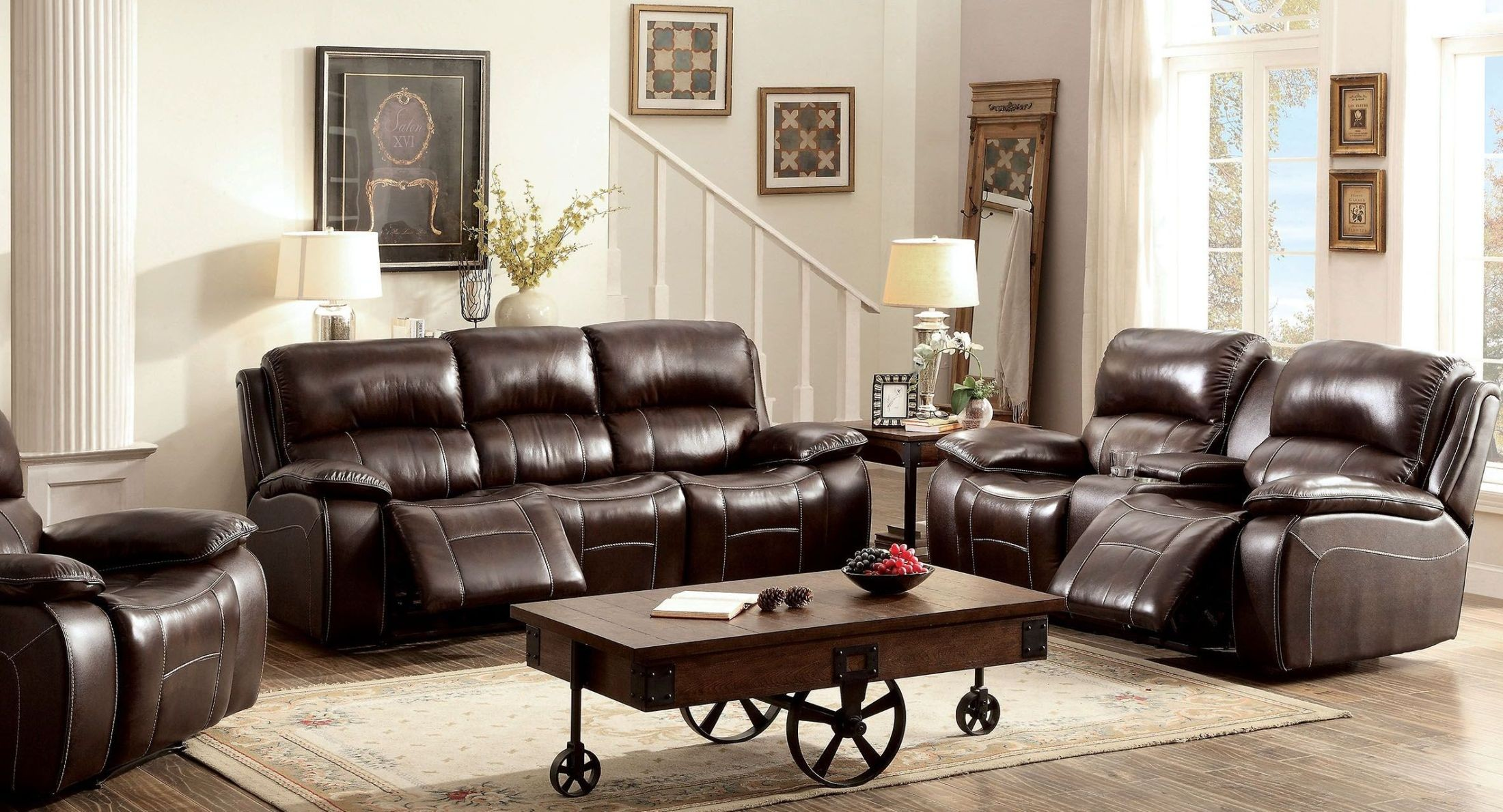 Ruth Brown Leather Reclining Living Room Set, CM6783BR