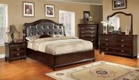 Arden Brown Cherry Faux Leather Platform Bedroom Set ...