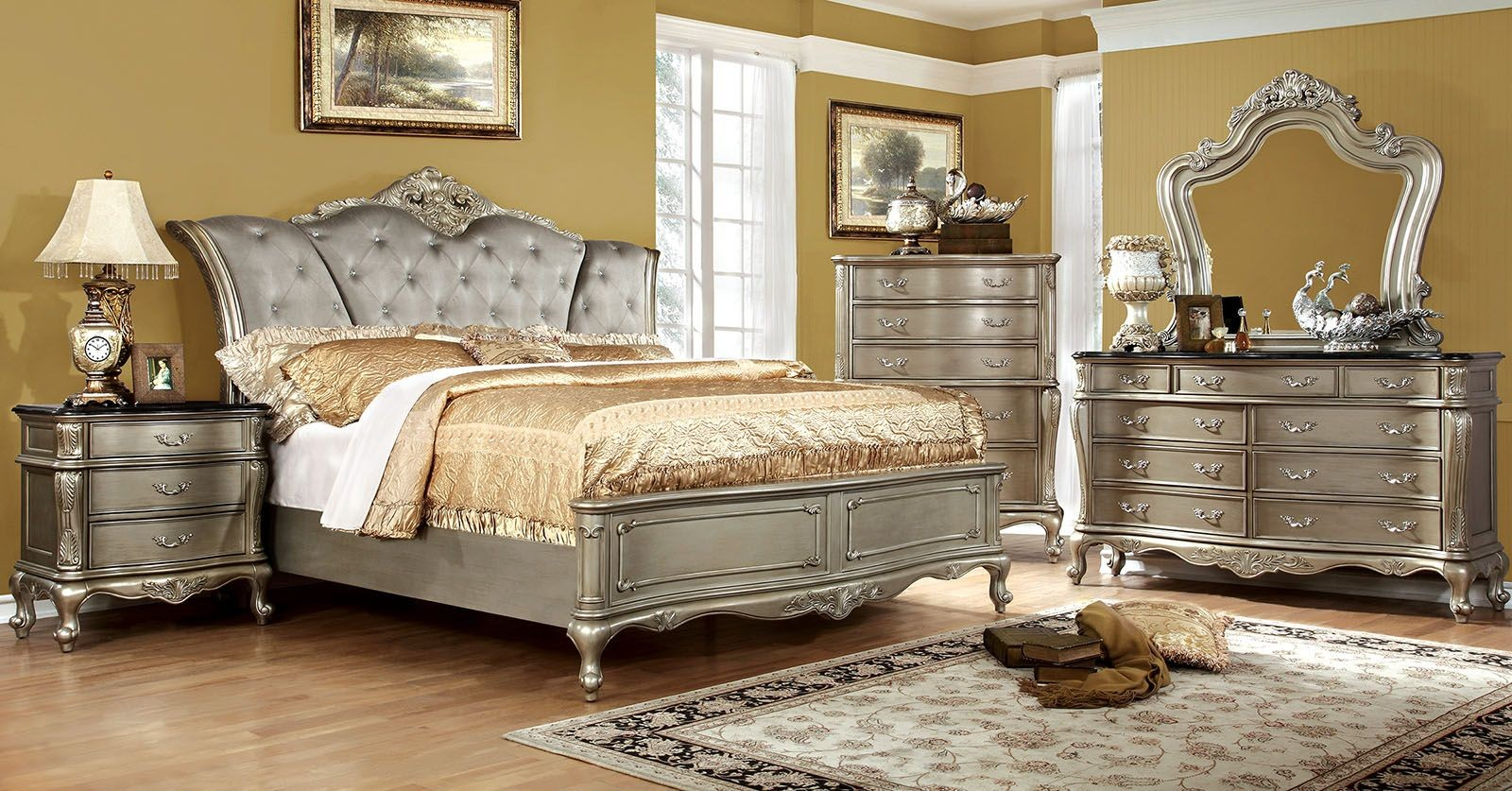 Furniture Bedroom Johara Gold Upholstered Bedroom Set From Furniture Of