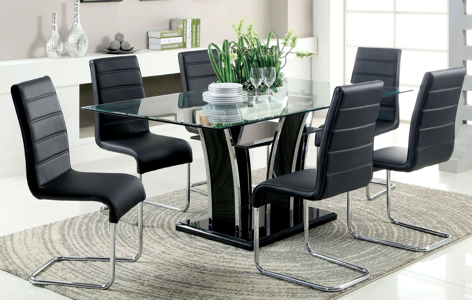 Dining Room Furniture Glass Glenview Black Glass Top Dining Room Set From Furniture Of