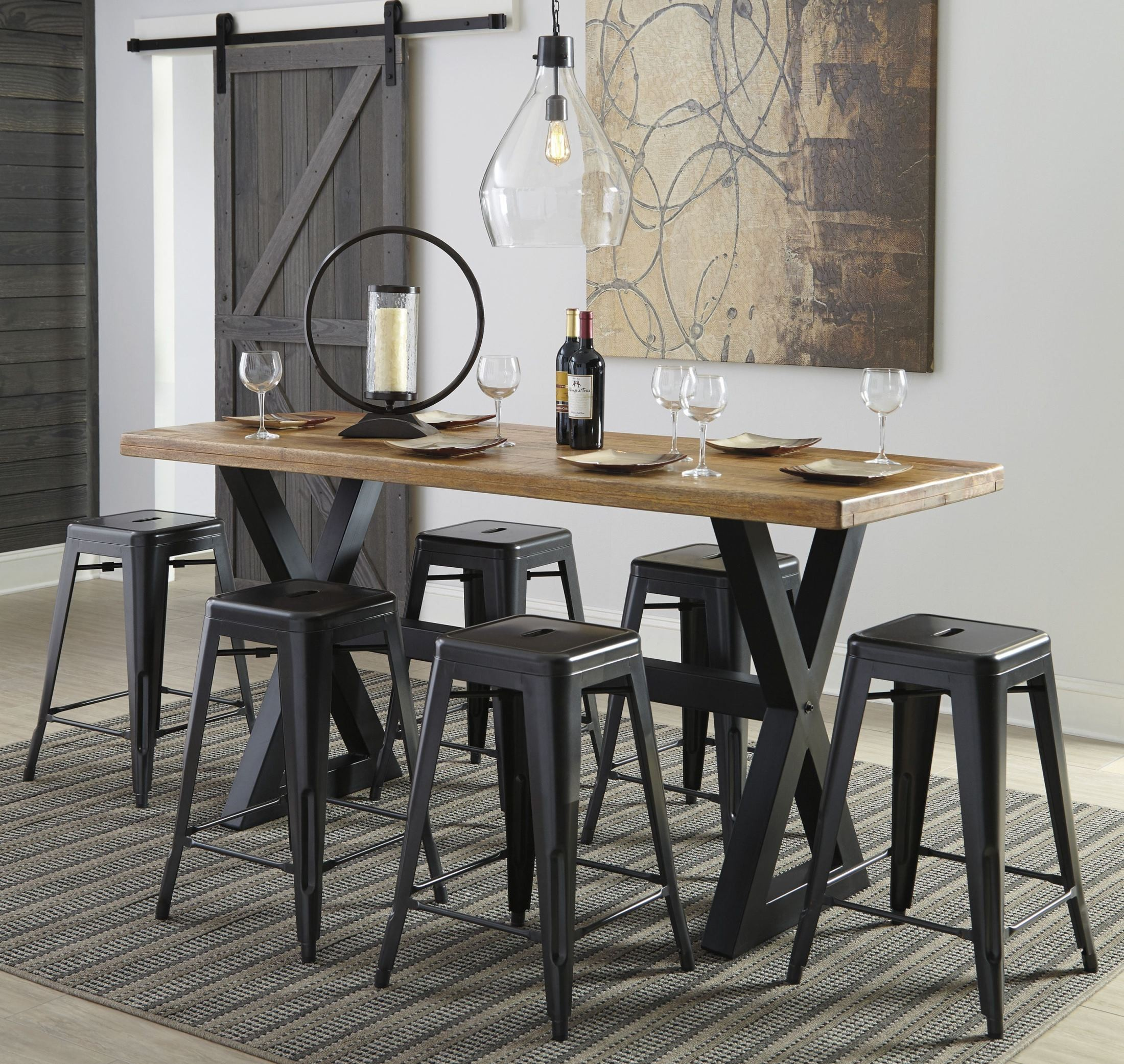 Glosco Two Tone Rectangular Counter Height Dining Table