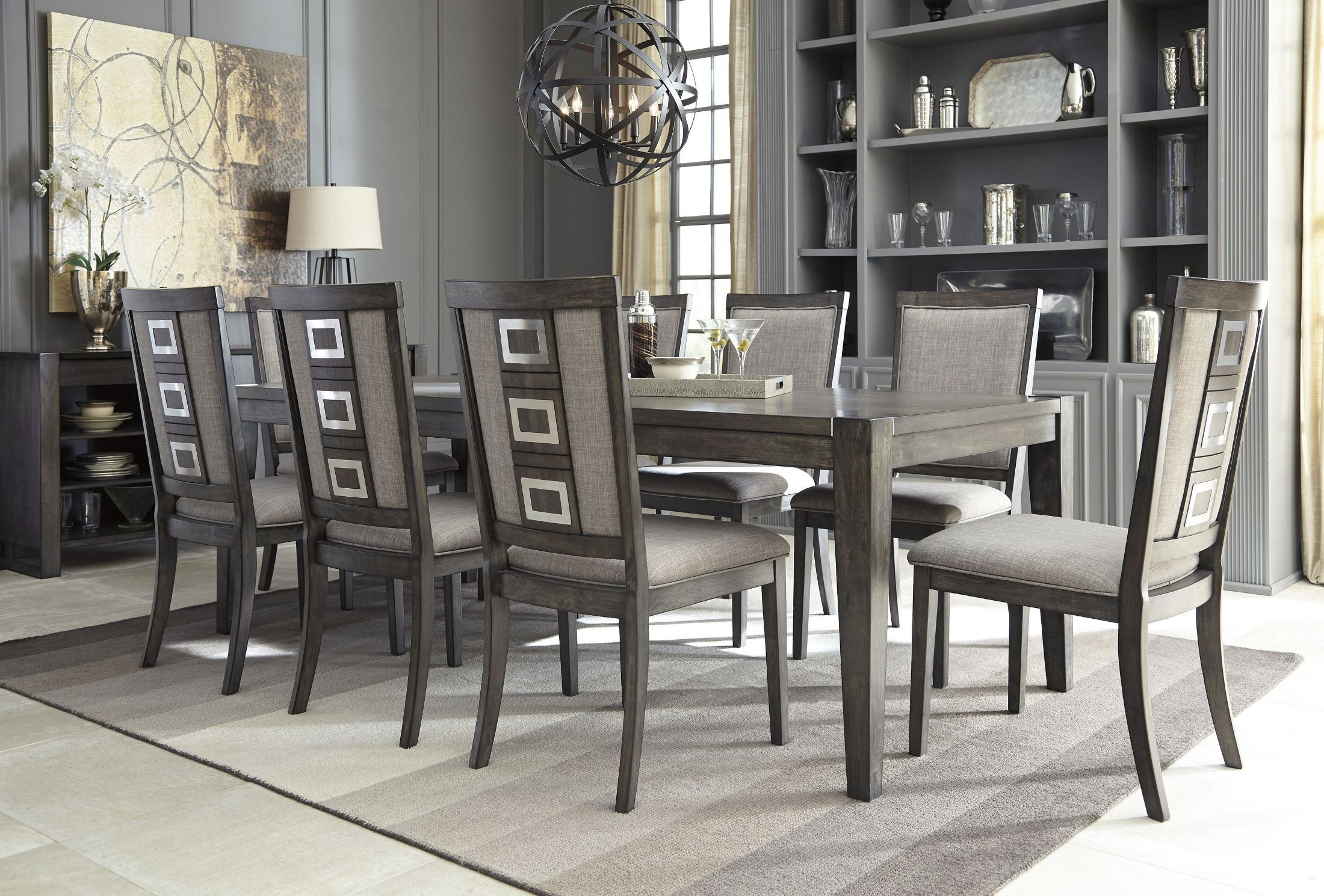 Table 6 Et 7 Chadoni Gray Rectangular Extendable Dining Room Set From