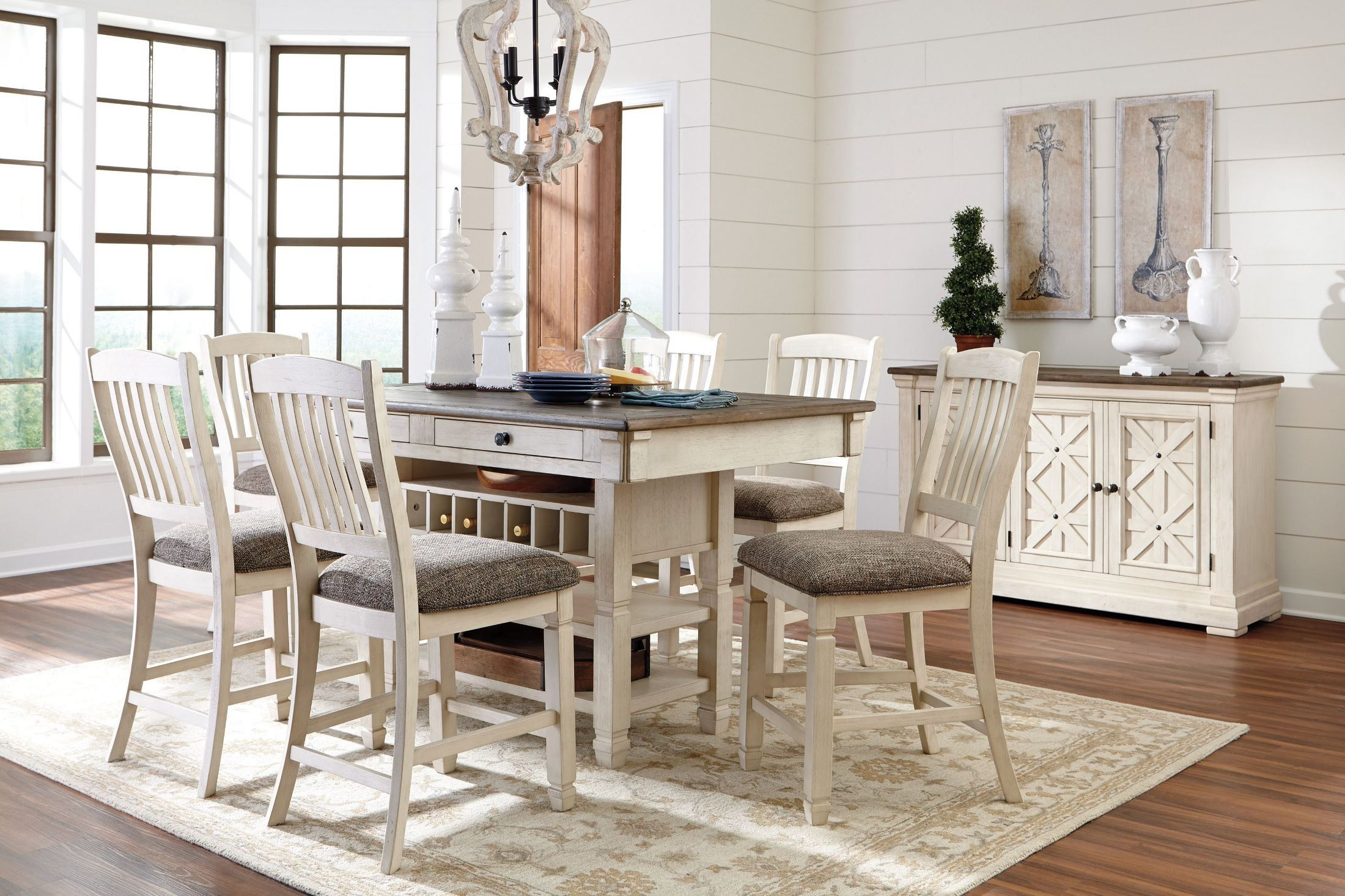 White Dining Table Set Bolanburg White And Gray Rectangular Counter Height Dining