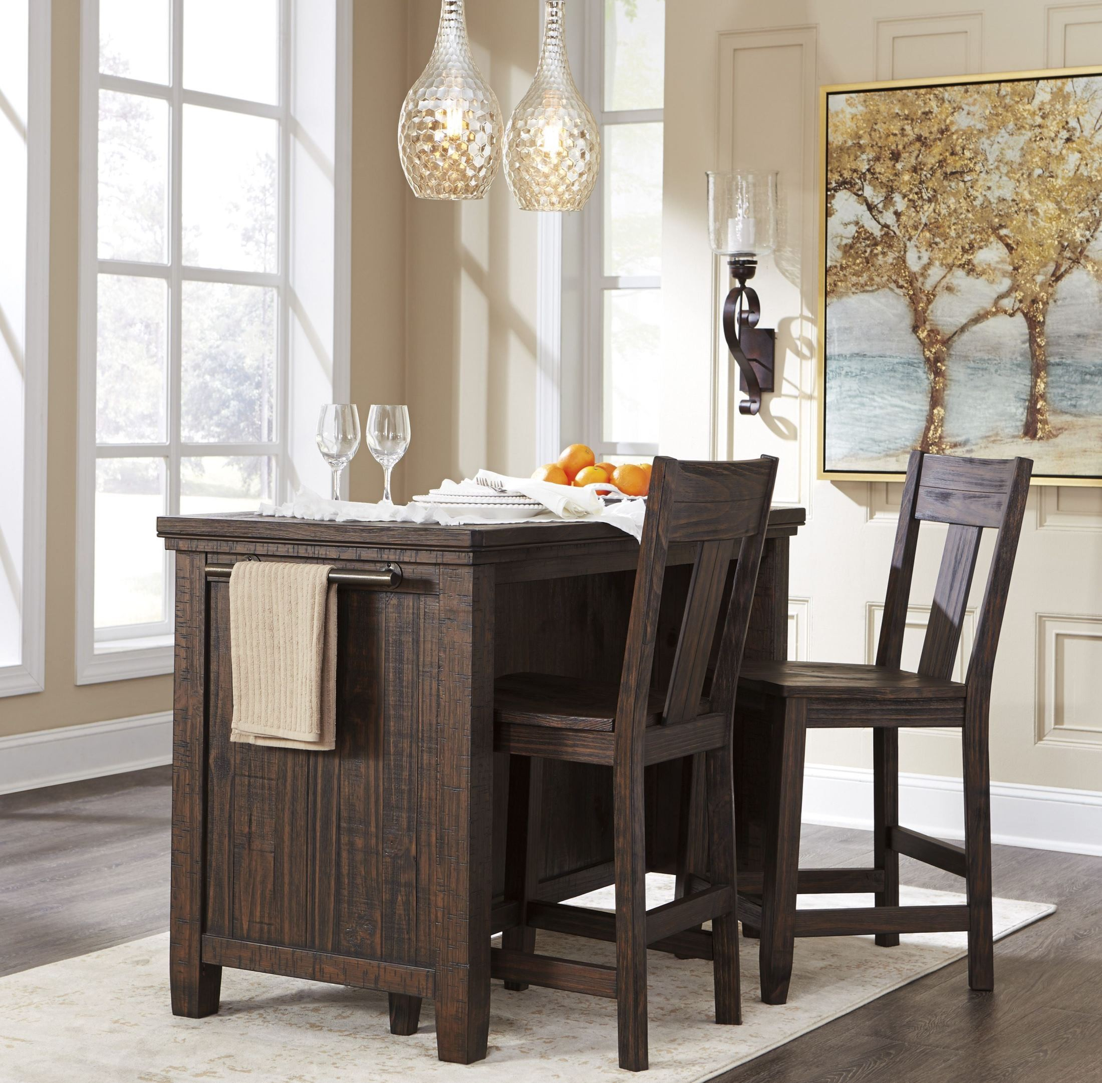 Square Dining Table With Storage Trudell Dark Brown Rectangular Storage Counter Height