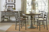 Colonnades Putty and Oak Round Counter Height Dining Room ...