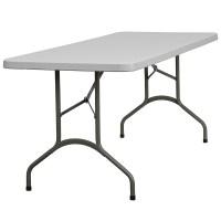 30''W x 72''L Granite White Plastic Folding Table from ...