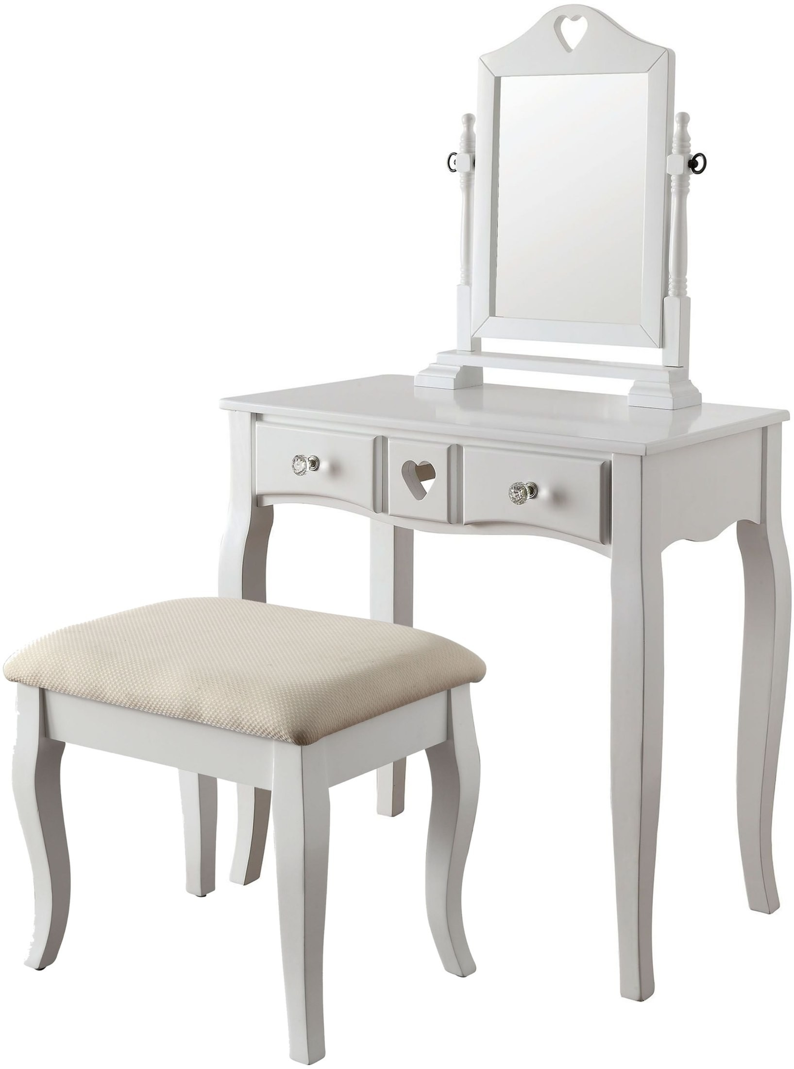 White Vanity Bench Seat Francine White Vanity With Stool From Furniture Of America