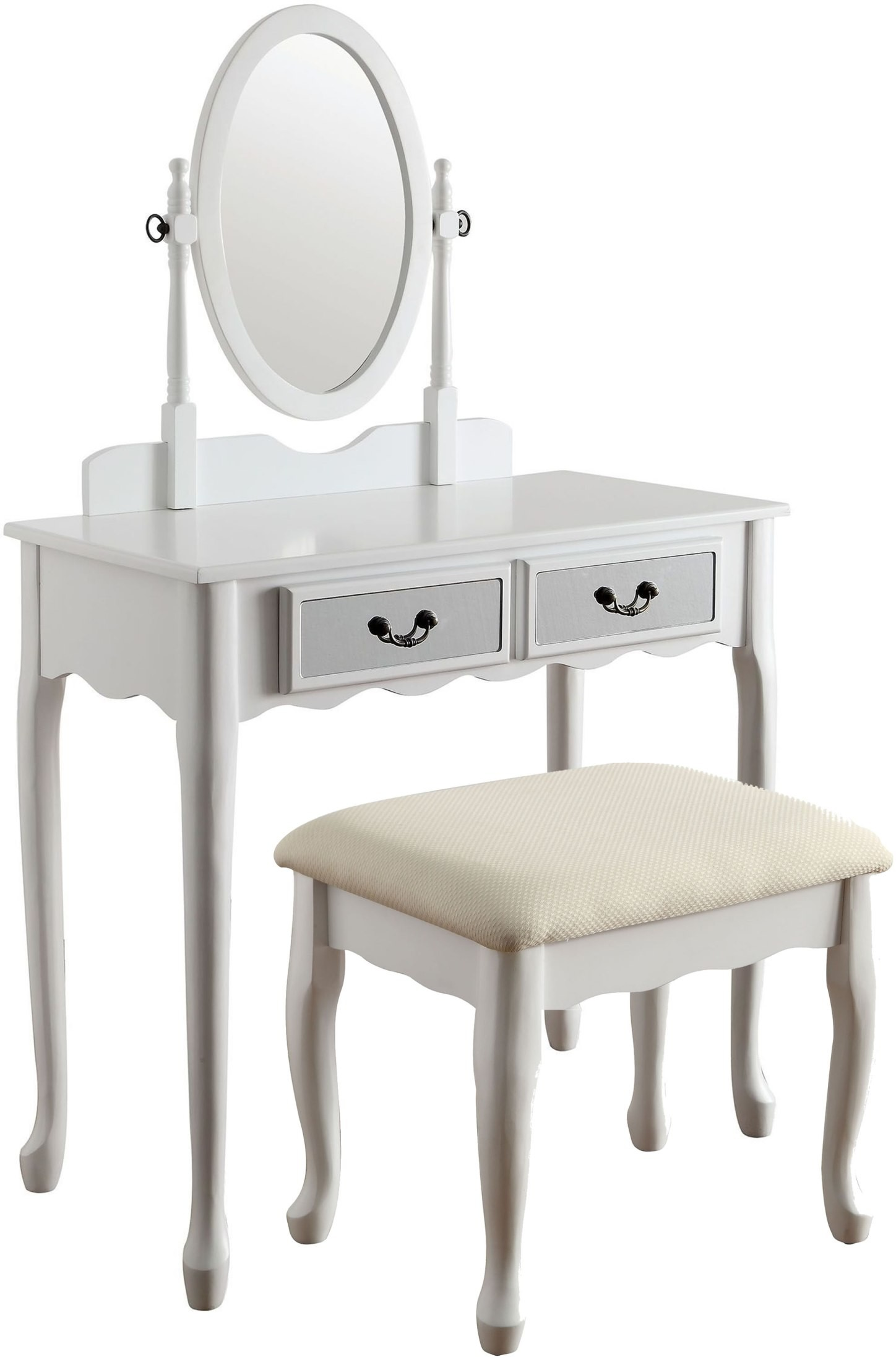 White Vanity Bench Seat Adriana White Vanity With Stool From Furniture Of America