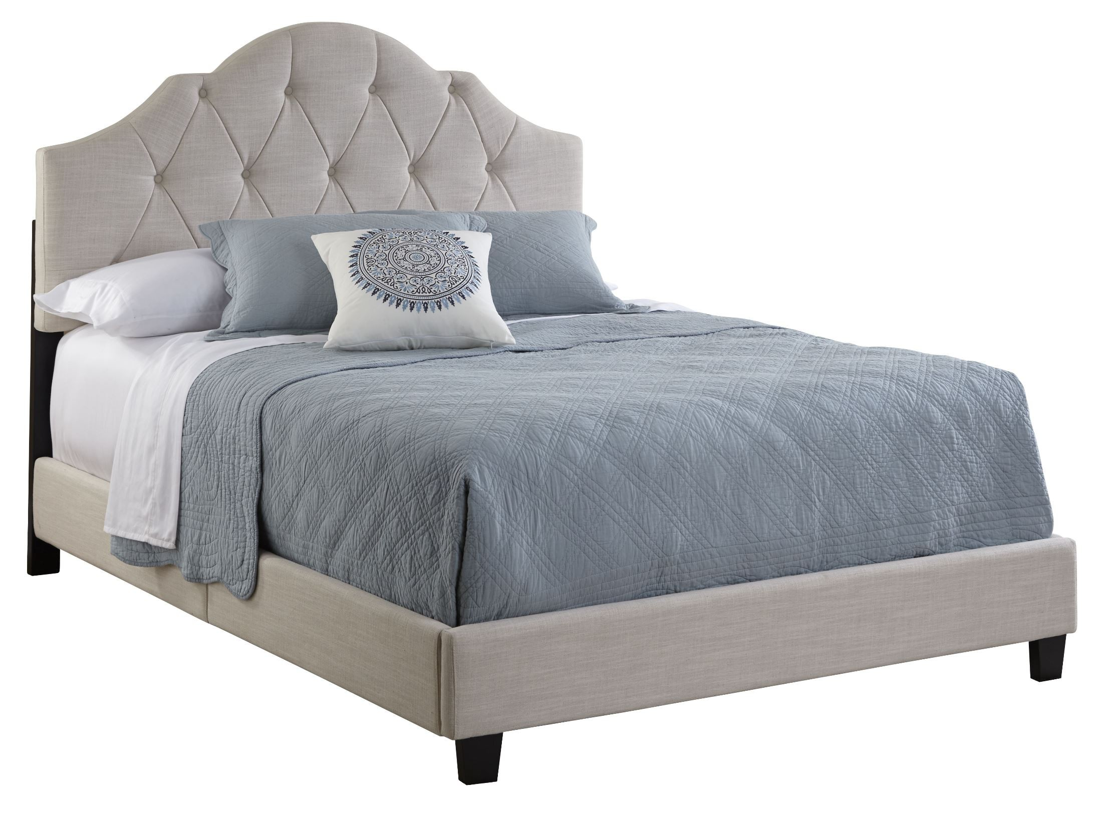 Tufted Queen Bed All N One Queen Fully Upholstered Tufted Saddle Bed From