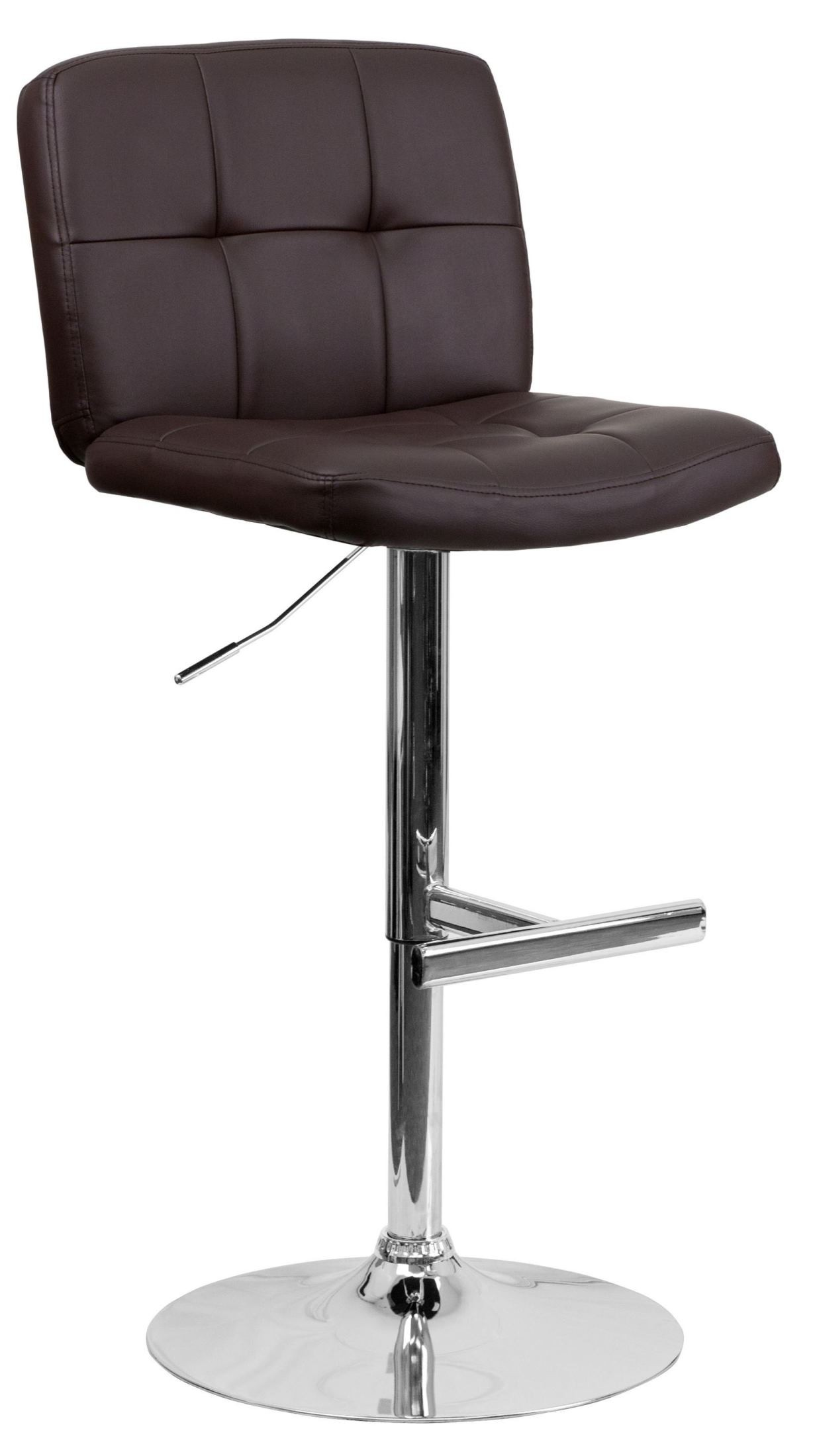 Brown Adjustable Bar Stool 829 Tufted Brown Vinyl Adjustable Height Bar Stool From