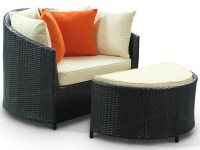 Robin's Nest Outdoor Rattan Lounge Chair with Ottoman from ...