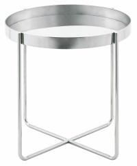 Gaultier Silver Metal Side Table, HGDE123, Nuevo