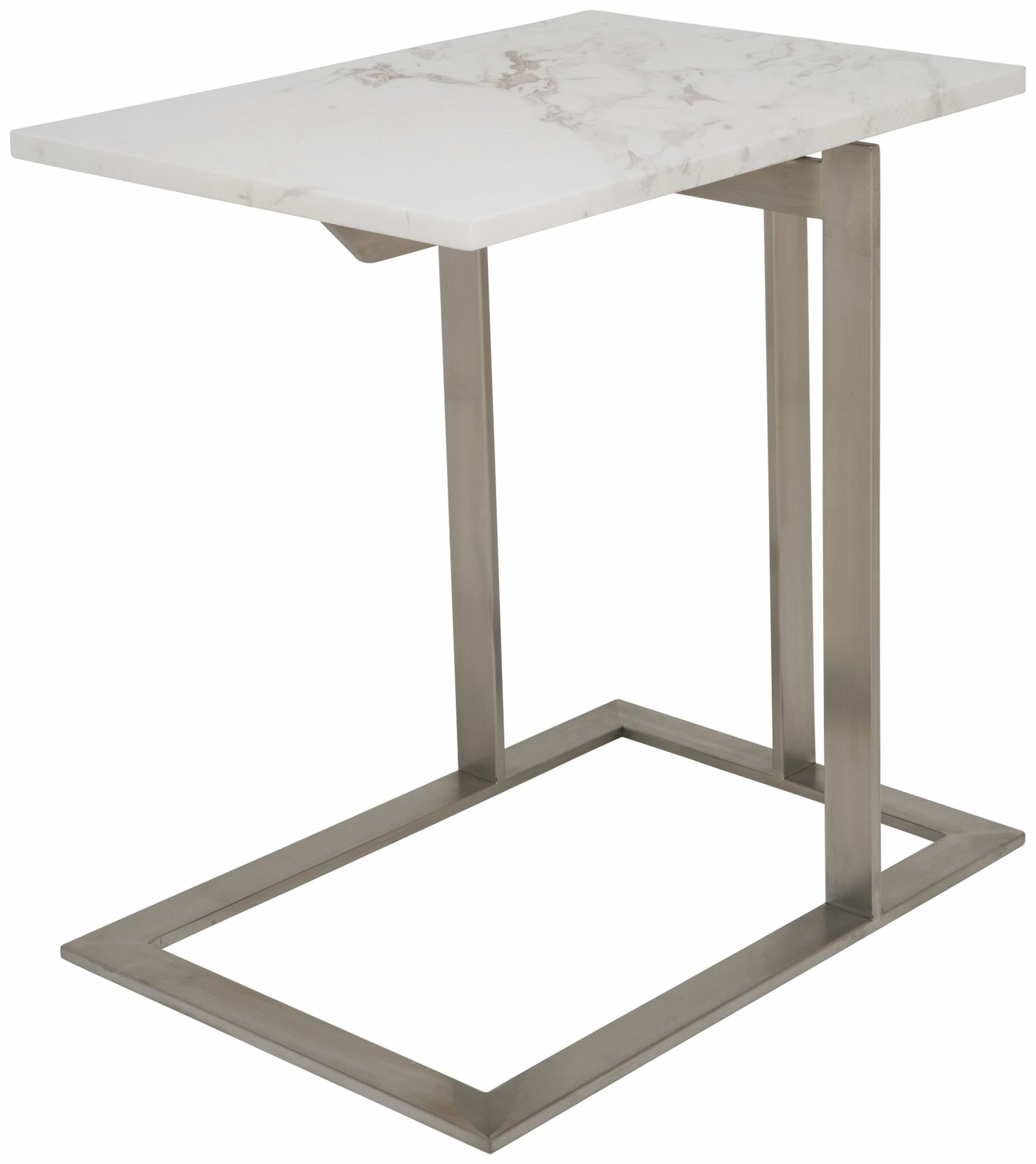 White Metal End Table Dell White Stone And Silver Metal Side Table From Nuevo
