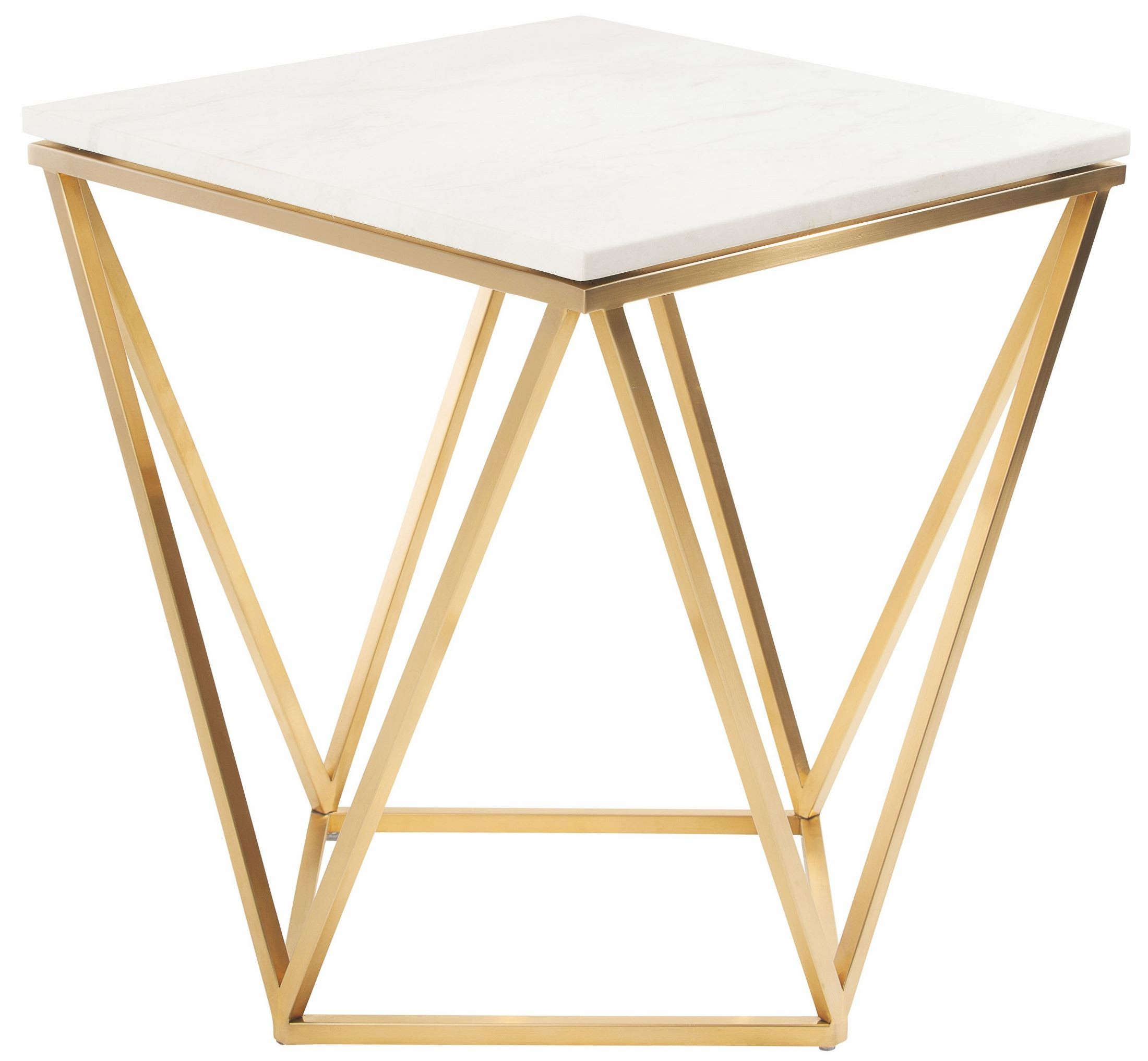 White Metal End Table Jasmine White Stone And Gold Metal Side Table From Nuevo