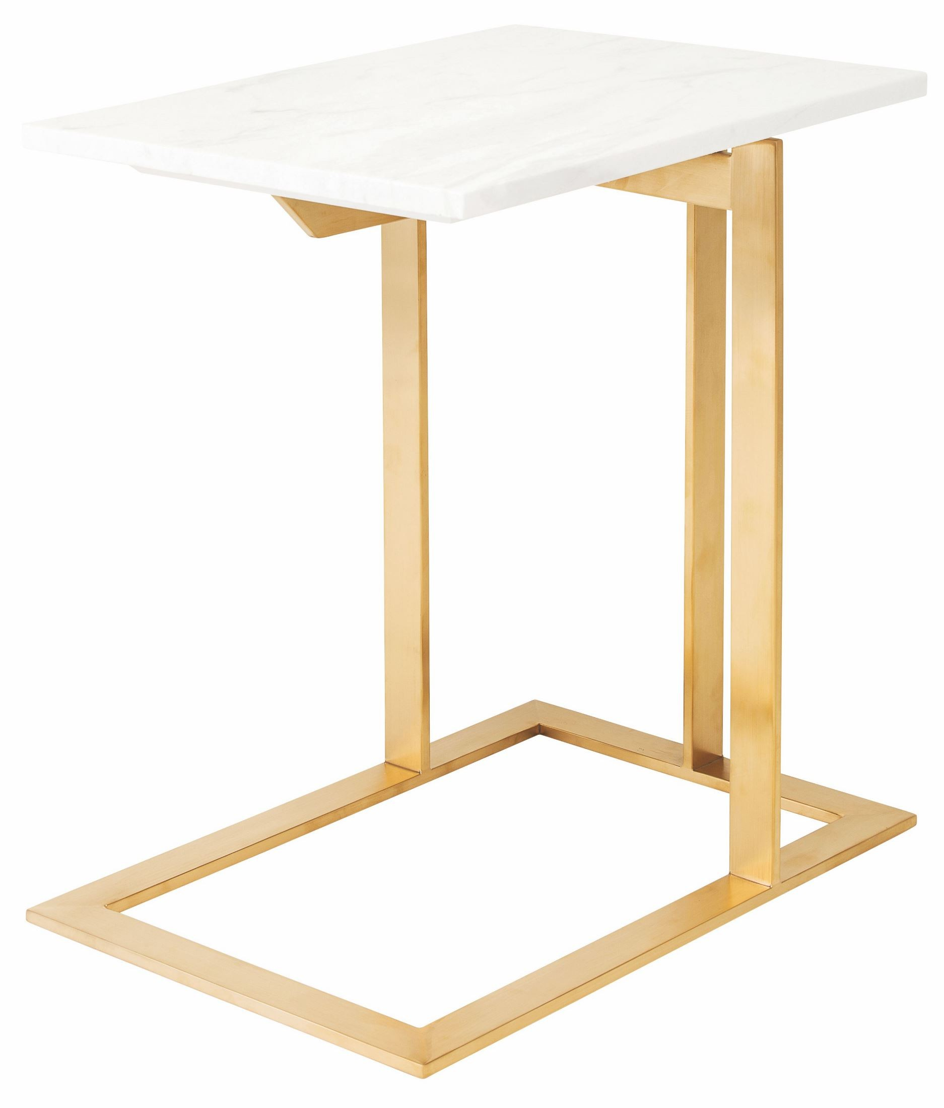 White Metal End Table Dell White Stone And Gold Metal Side Table From Nuevo