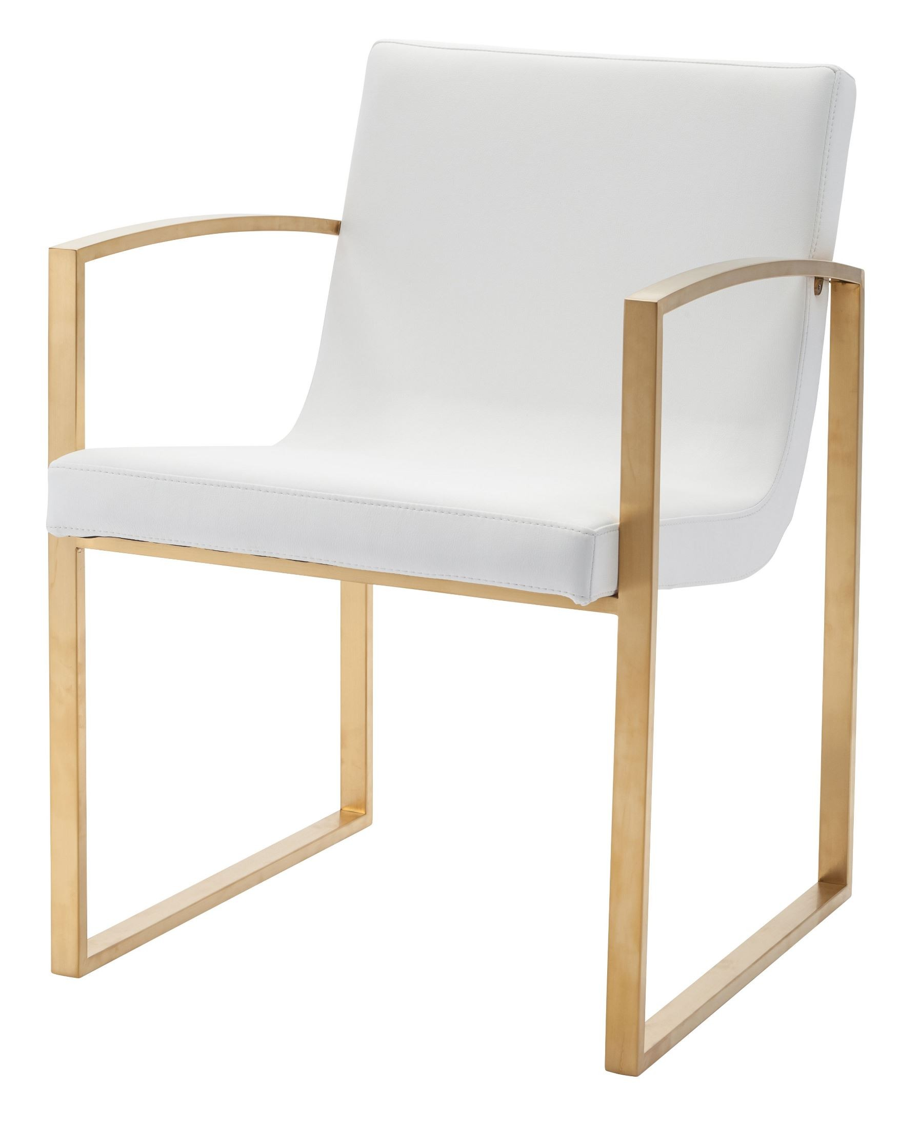 White And Gold Desk Chair Clara White And Gold Naugahyde Dining Chair From Nuevo