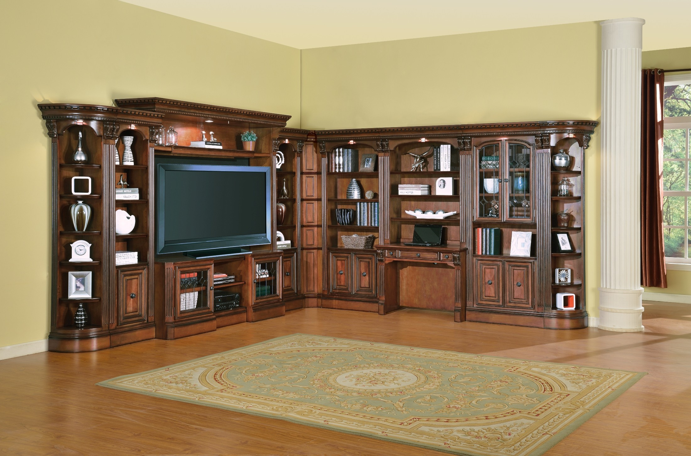 Huntington Home Products Huntington L Shape Entertainment Wall Unit From Parker