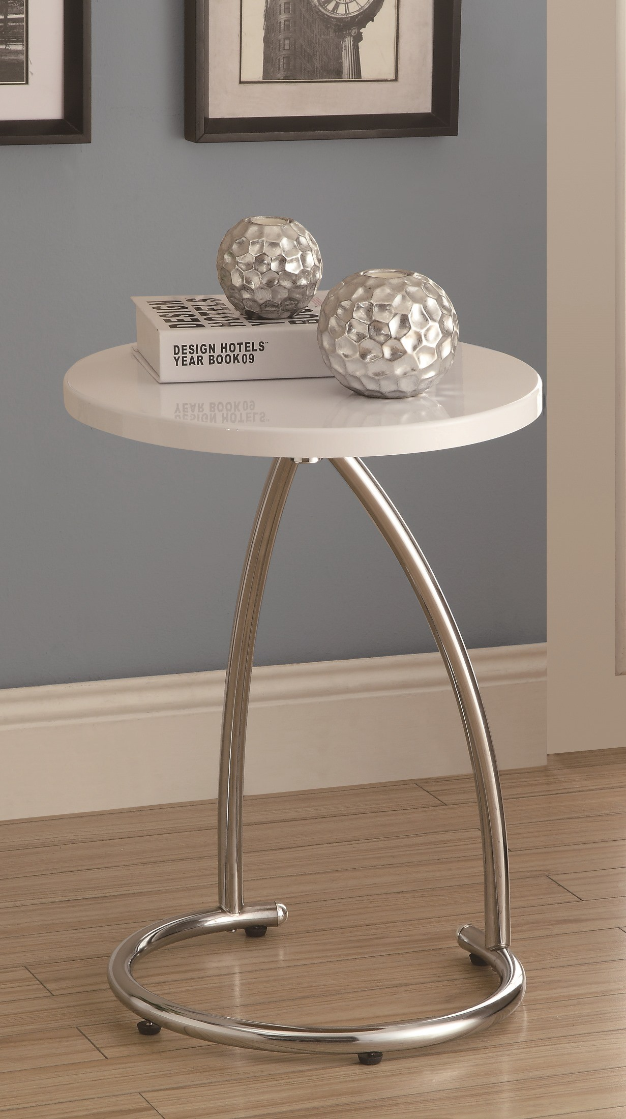 White Metal End Table 3035 Glossy White Chrome Metal Accent Table From Monarch