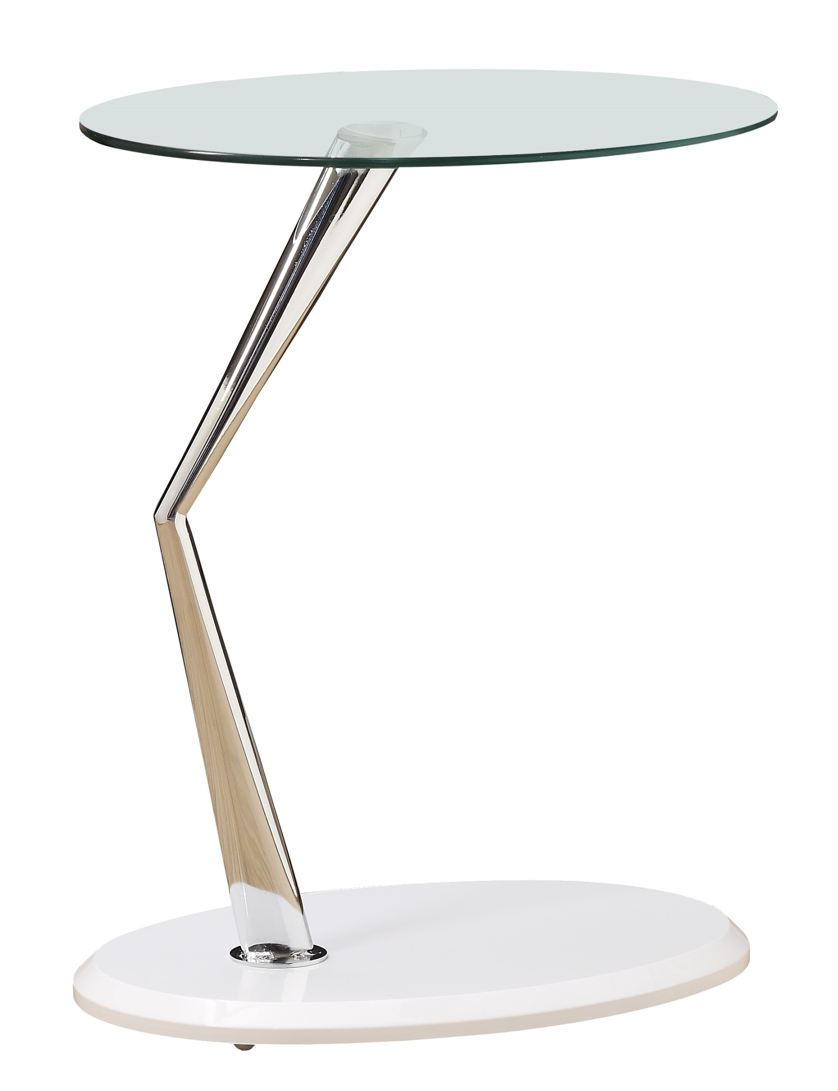 White Metal End Table 3048 Glossy White Chrome Metal Accent Table From Monarch