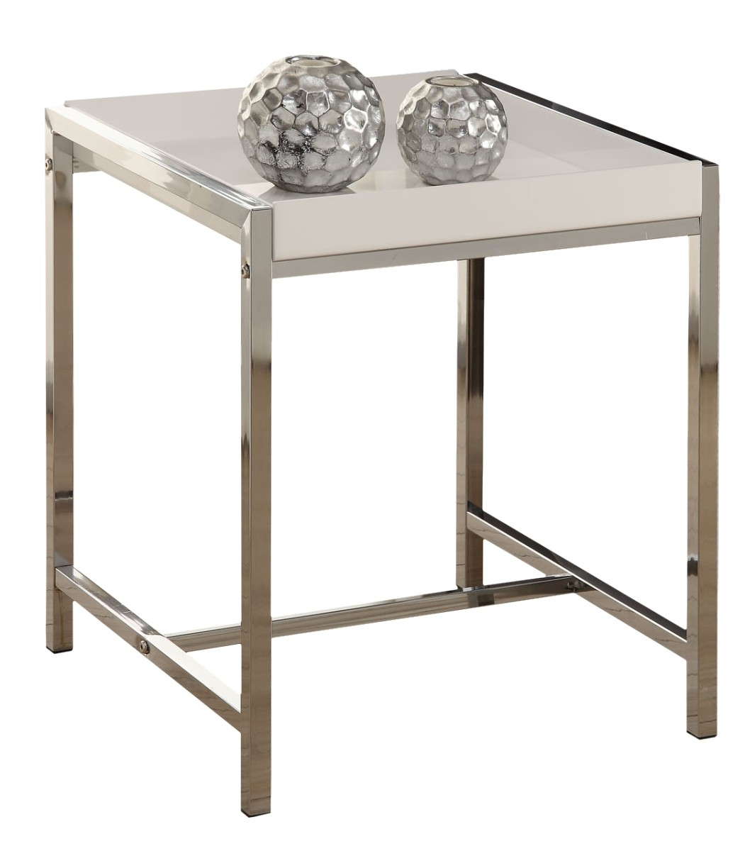 White Metal End Table 3050 White Acrylic Chrome Metal Accent Table From