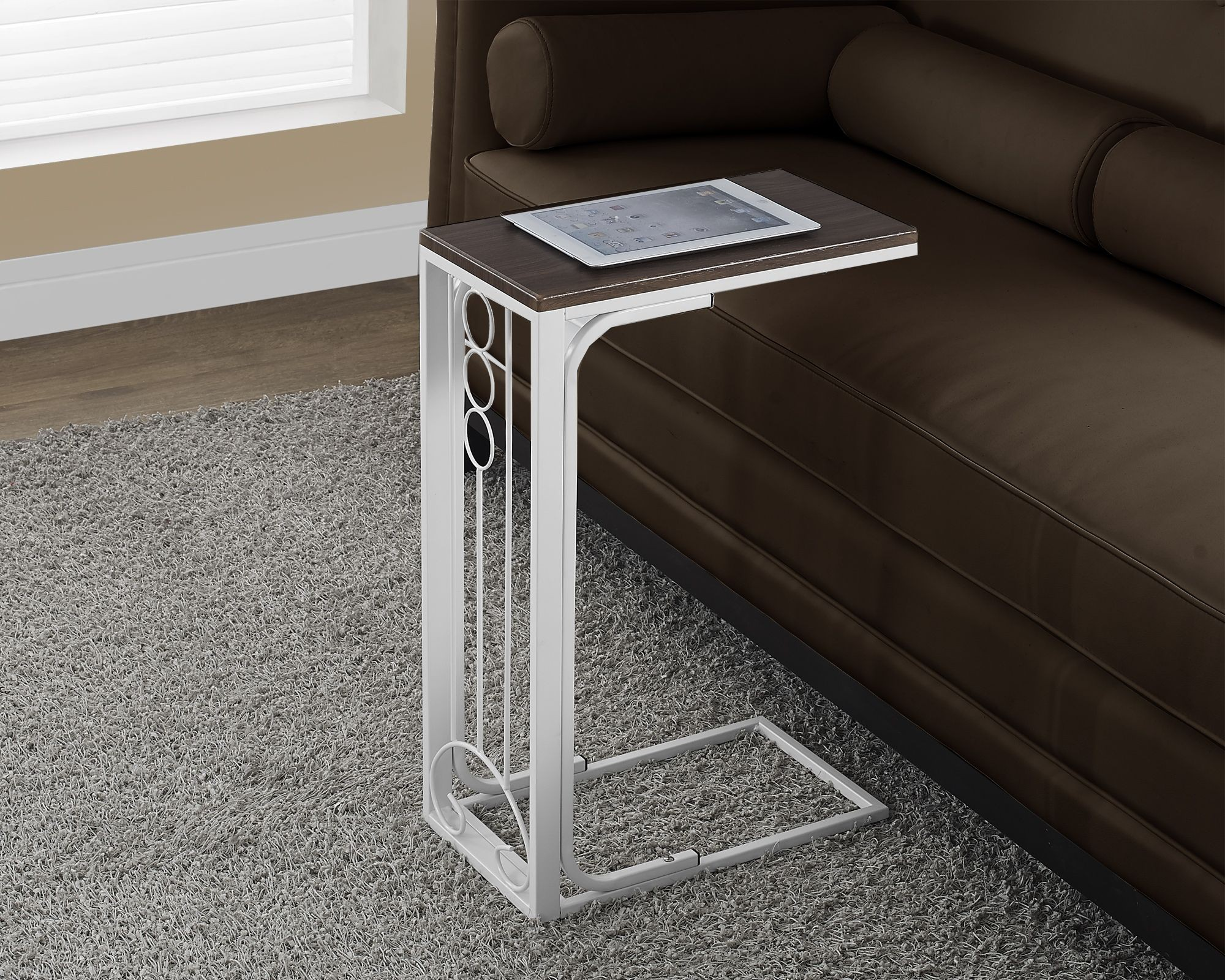 White Metal End Table Antique White Metal Cherry Top Accent Table From Monarch