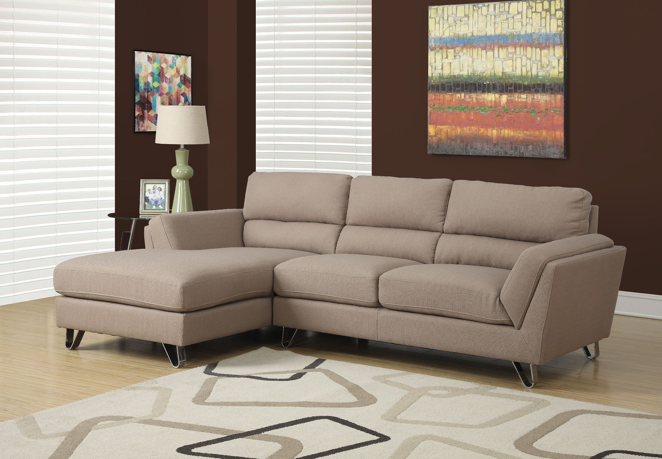 Light Brown Linen Sofa Sectional from Monarch (8210LB
