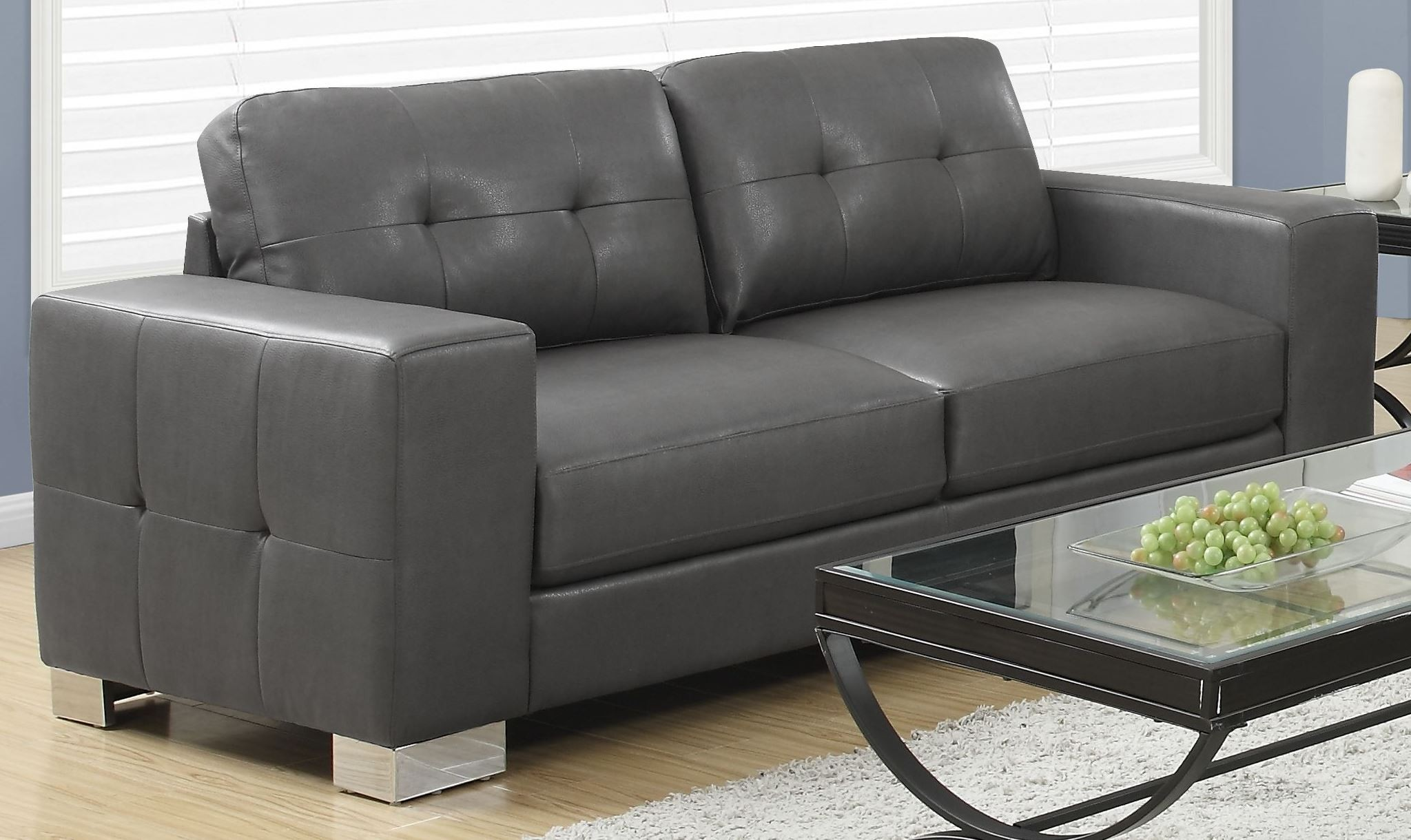 Gray Leather Sofa 8223gy Charcoal Grey Bonded Leather Sofa 8223gy Monarch