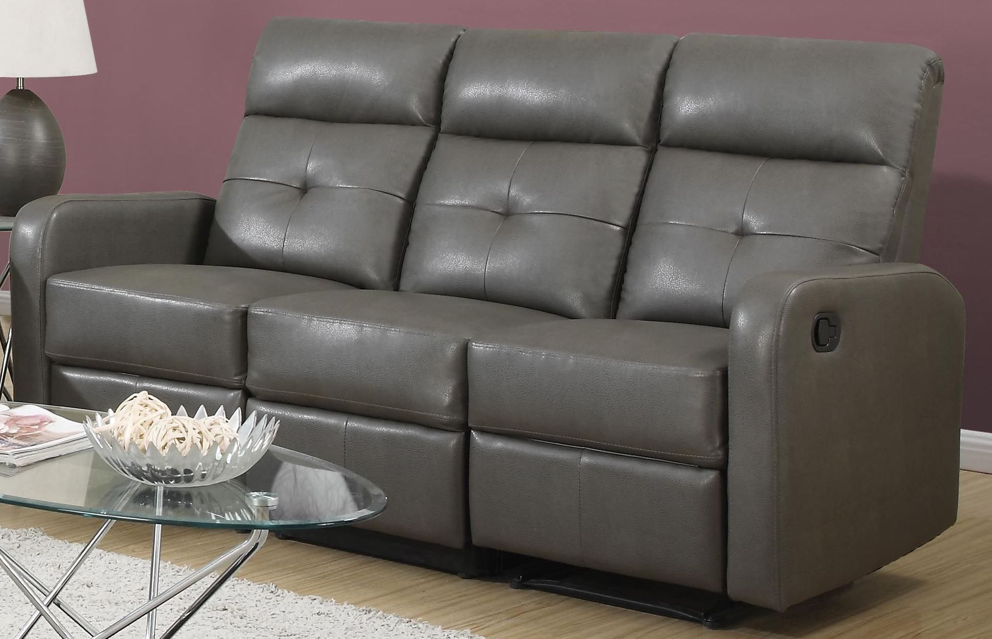 Gray Leather Sofa 85gy 3 Charcoal Grey Bonded Leather Reclining Sofa 85gy 3