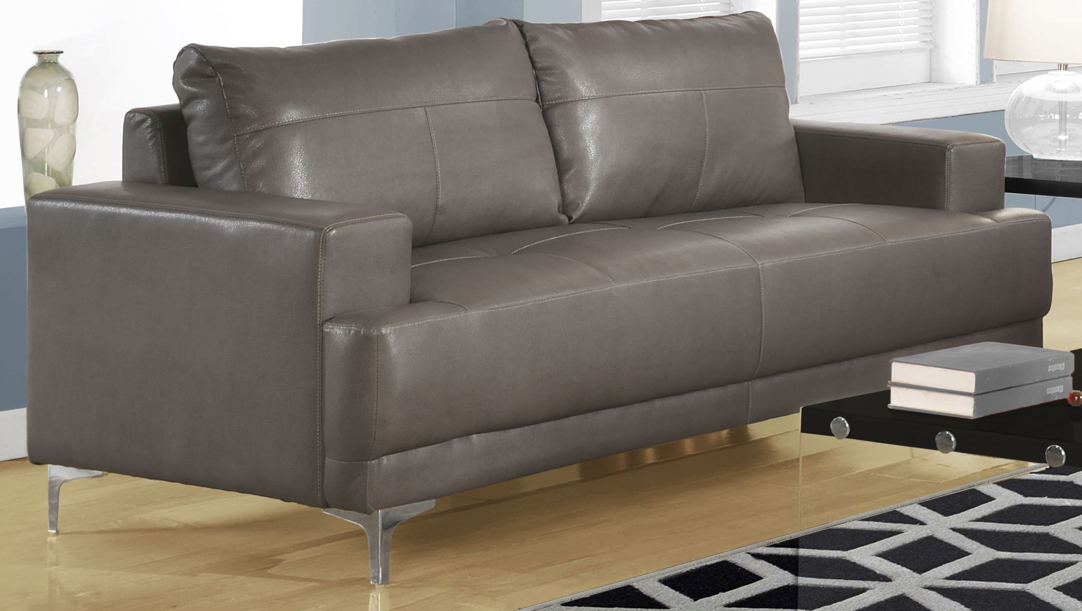 Gray Leather Sofa 8603gy Charcoal Grey Bonded Leather Sofa 8603gy Monarch