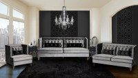 Moulin Gray Velvet Living Room Set, LC21573GR, Armen Living