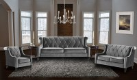 Barrister Gray Velvet Living Room Set, LC8443GRAY, Armen ...
