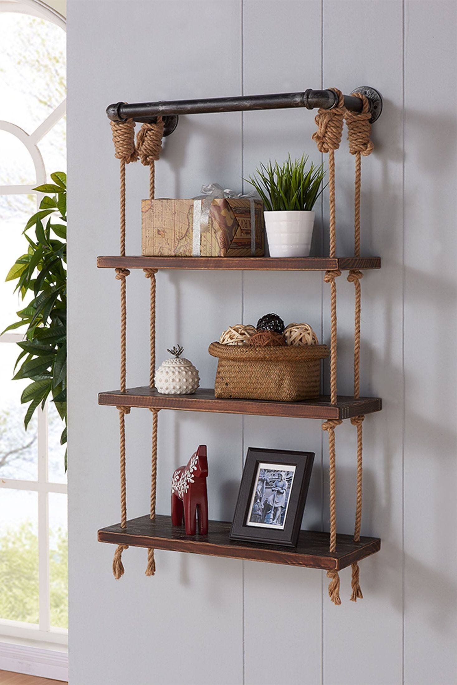 Brannon 24quot Gray Walnut Wood Floating Wall Shelf From