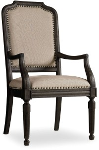 Corsica Dark Wood Upholstered Arm Chair Set of 2 from ...