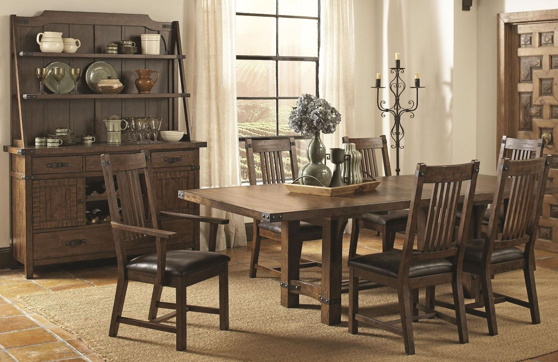 Dining Room Furniture Rustic Padima Rustic Rough Sawn Rectangular Extendable Dining