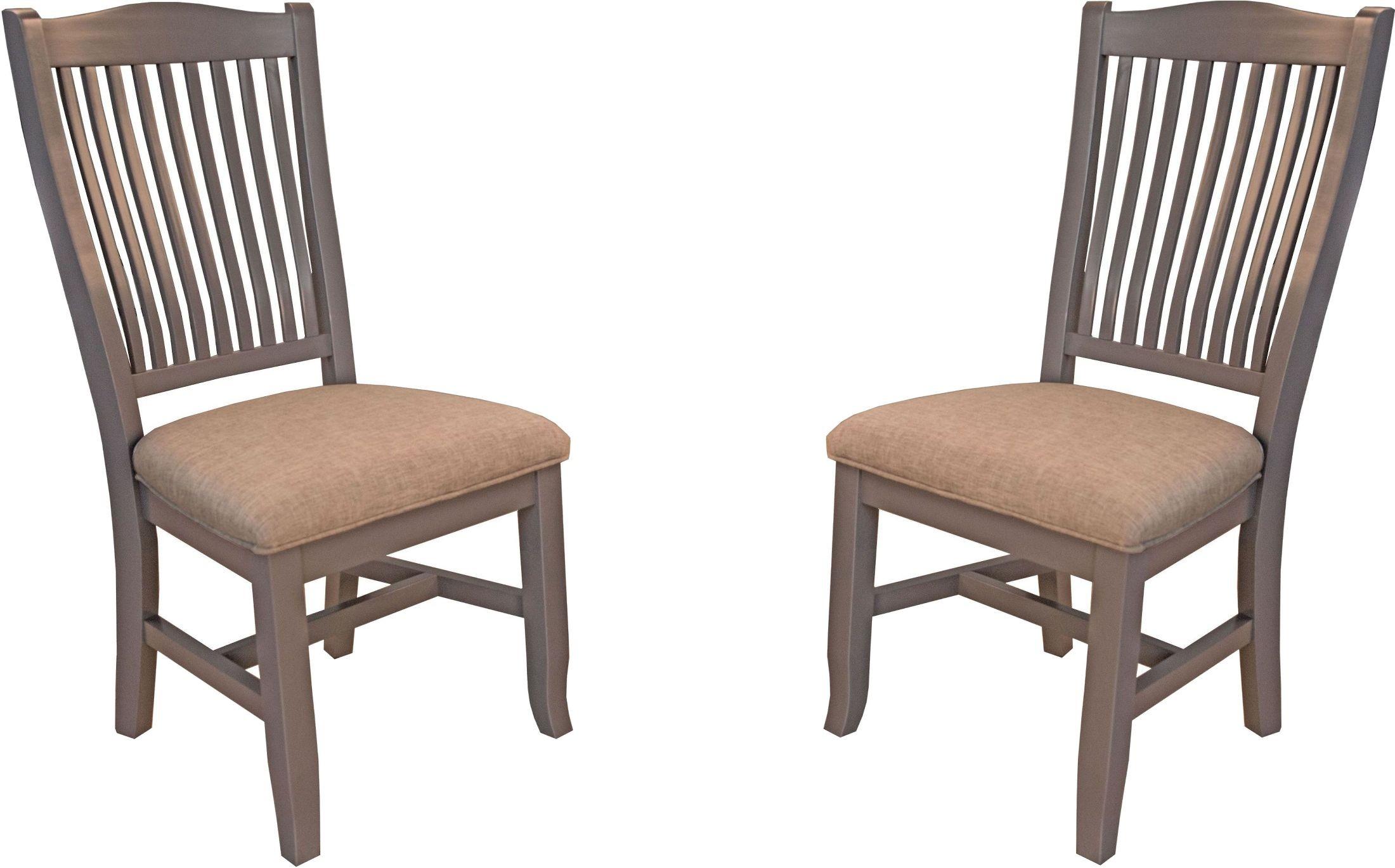 Port Townsend Grey Slat Back Upholstered Side Chair Set Of