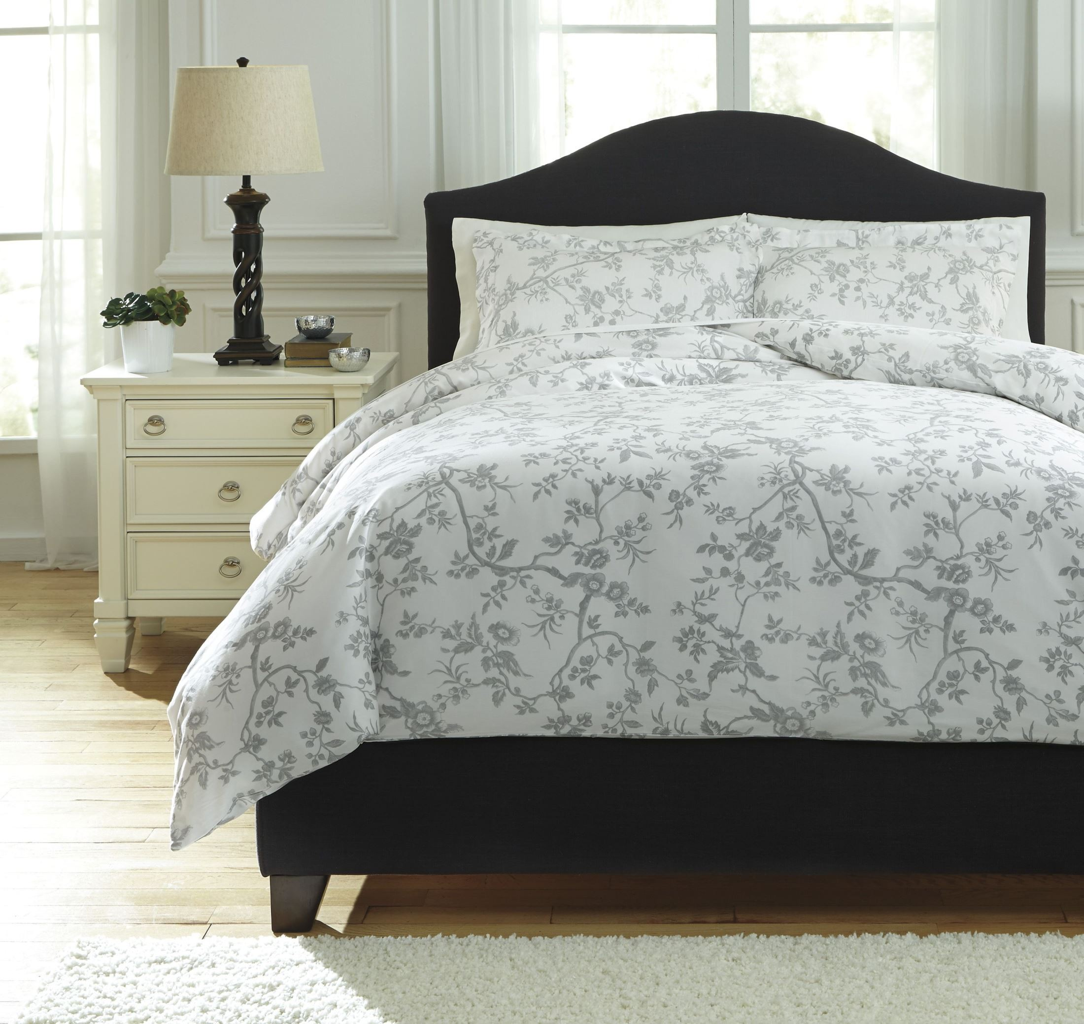 Florina Gray And White King Duvet Cover Set From Ashley