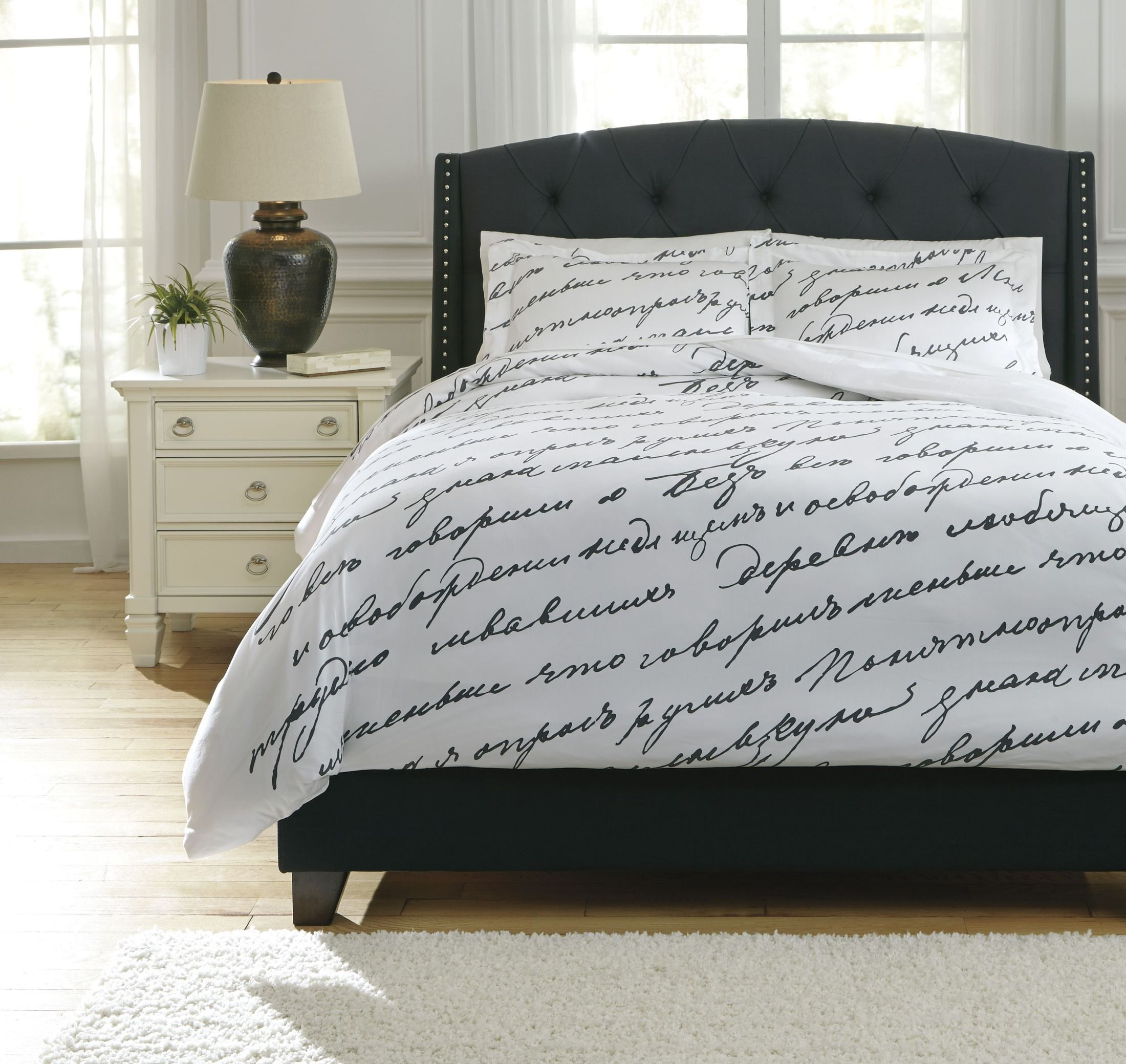 Amantipoint White And Gray Queen Duvet Cover Set From