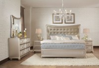 Dynasty Gold Metallic Upholstered Platform Bedroom Set ...