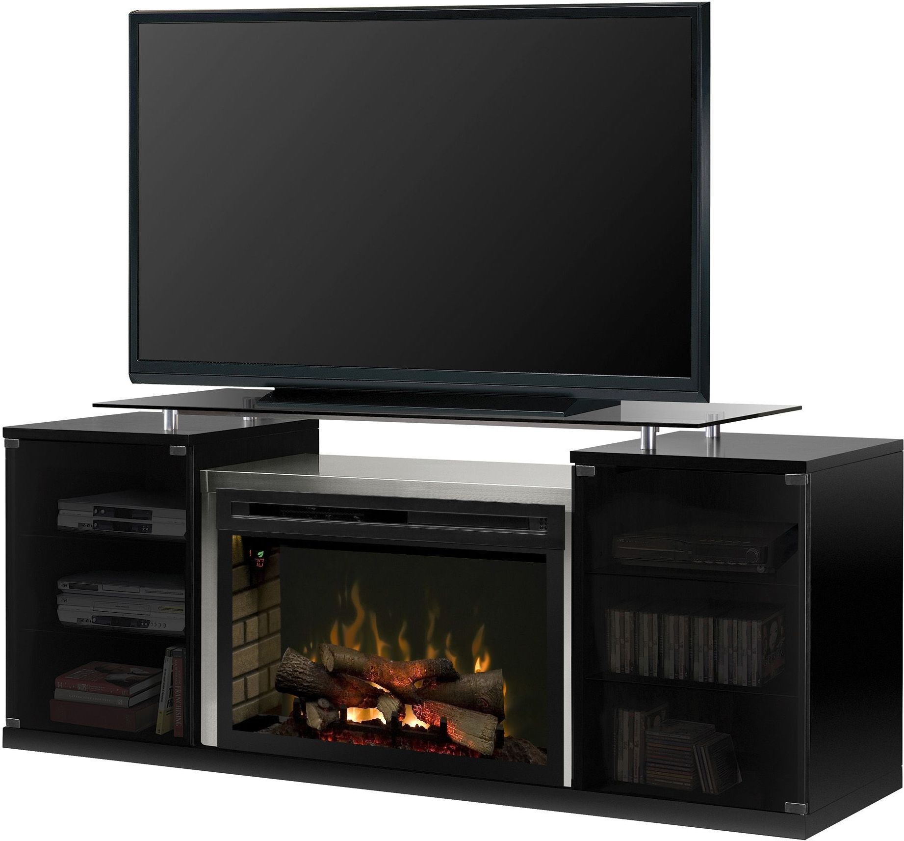 Stainless Steel Fireplace Marana Brushed Stainless Steel Media Console With Realogs