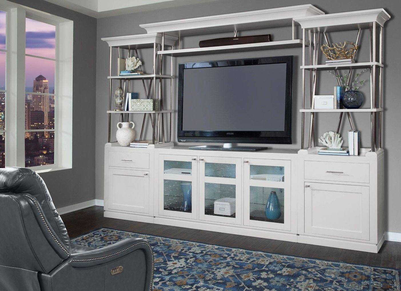 White Entertainment Wall Unit Skyline Cottage White 4 Piece Entertainment Wall Unit From